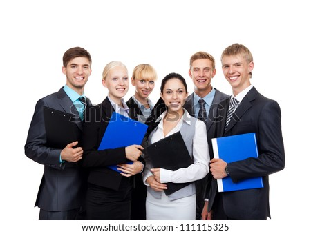 young businesspeople standing together smile hold folder clipboard, Business people group team, Isolated over white background - stock photo