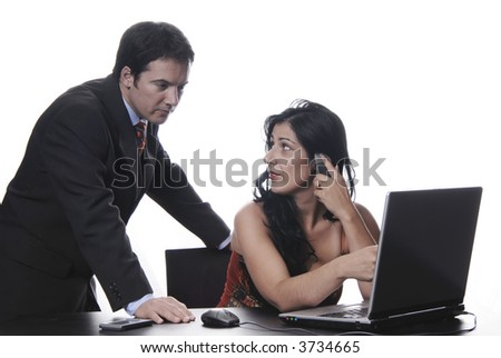 Young businesspeople to work in the office, in deep white... - stock photo