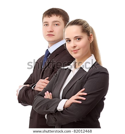Young businesspersons standing isolated on white background - stock photo