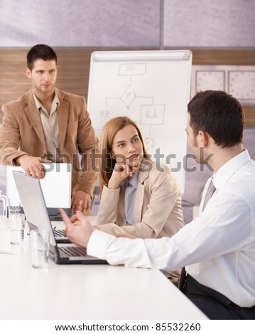 Young businessteam having training in meeting room.?