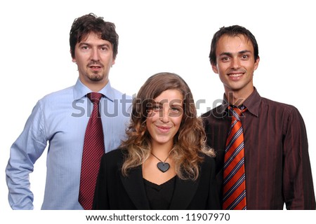 young businessteam portrait over white