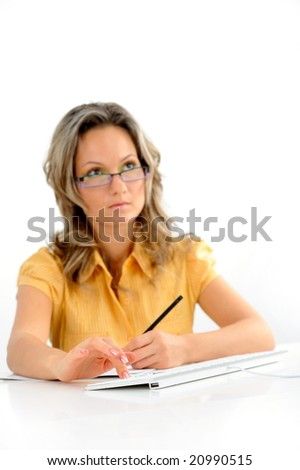 young businesswoman against white background