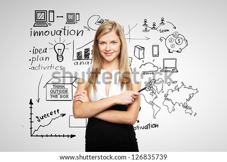 young businesswoman and business plan - stock photo