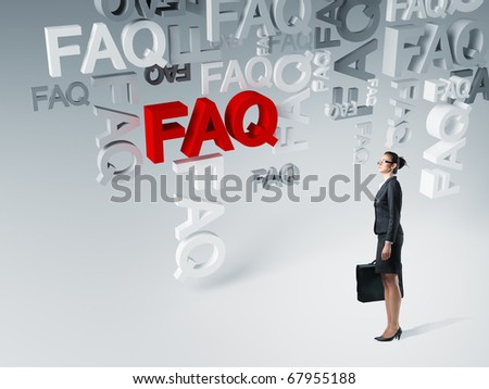young businesswoman and 3d faq background