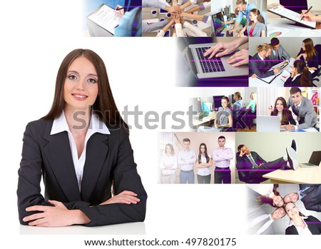 Young businesswoman and different photos on white background. Business people concept.