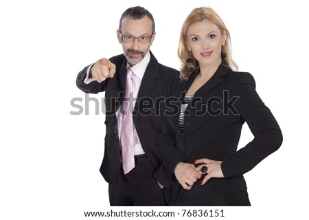 Young businesswoman and senior businessman standing together  smiling  isolated on white background - stock photo