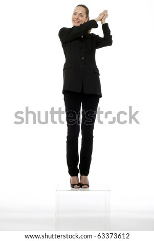 young businesswoman at podium on white background studio