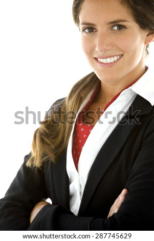 Young businesswoman at workplace - stock photo