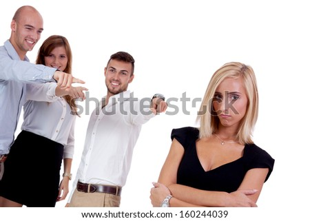 young businesswoman bullying mobbing by team isolated on white portrait - stock photo