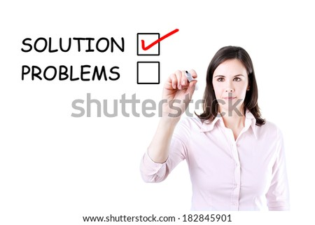 Young businesswoman check mark on solution concept. Office background.