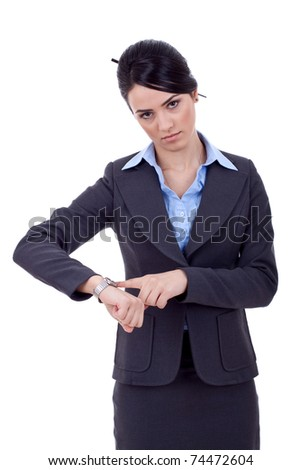 young businesswoman checks time on her wrist watch, time, late concept, studio shoot isolated on white - stock photo