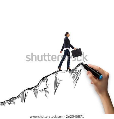 Young businesswoman climbing the mountain. Promotion concept - stock photo