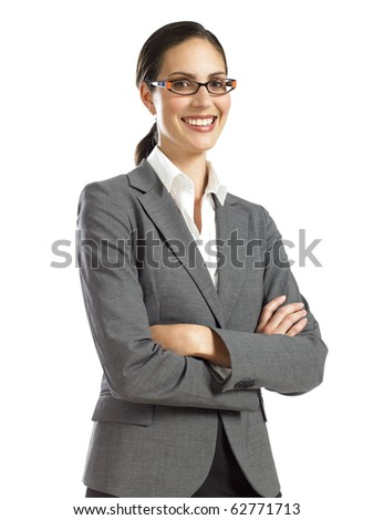 Young businesswoman confident smiling - stock photo