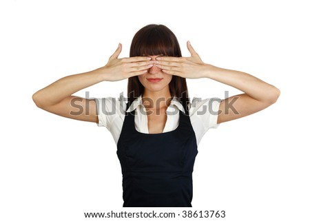 young businesswoman covering her eyes with hands - stock photo