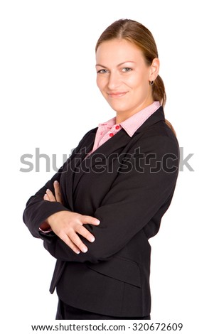 Young Businesswoman crossing her arms isolated on white - stock photo