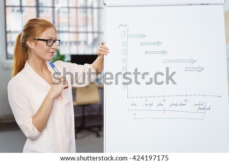 Young businesswoman doing a presentation standing alongside a flip chart looking thoughtfully at her notes - stock photo