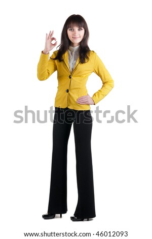 Young businesswoman doing the okay sign and smiling . - stock photo
