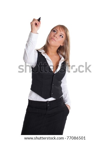 Young businesswoman draw with marker isolated - stock photo