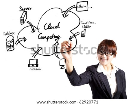 young businesswoman drawing a cloud computing Application - stock photo
