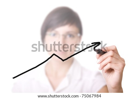 young businesswoman drawing graph / chart on white background. - stock photo