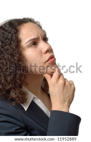 Young businesswoman full of doubt and questions - stock photo