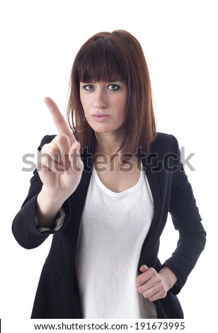 Young Businesswoman Gesturing With Finger  - stock photo