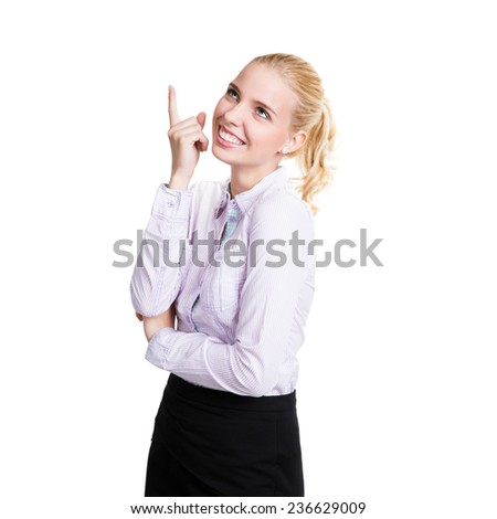 young businesswoman having an idea on isolated background - stock photo