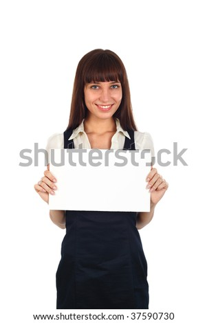 young businesswoman ho9lding a blank paper in hand - stock photo