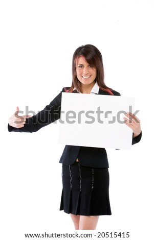 young businesswoman holding a blank bill board - stock photo