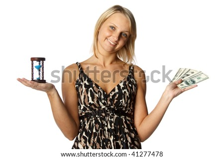 Young businesswoman holding a hourglass and money on  a white  background. Time is money concept. - stock photo