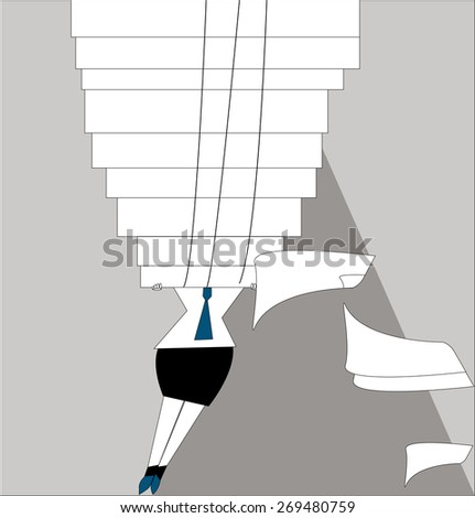 Young businesswoman holding a huge stack of folders with documents above head, and sheets of papers fall out of the folder. Business concept. a huge pile of paperwork -  raster copy illustration - stock photo