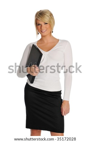 Young businesswoman holding a laptop and smiling isolated on a white background