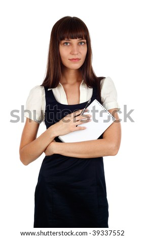 young businesswoman holding a notebook studio shot on white - stock photo