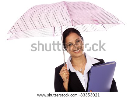 Young businesswoman holding an umbrella