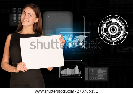 Young businesswoman holding blank paper on abstract background