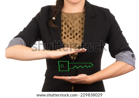 young businesswoman holding drawing sketch of a key concept of loan car house investment buy success - stock photo