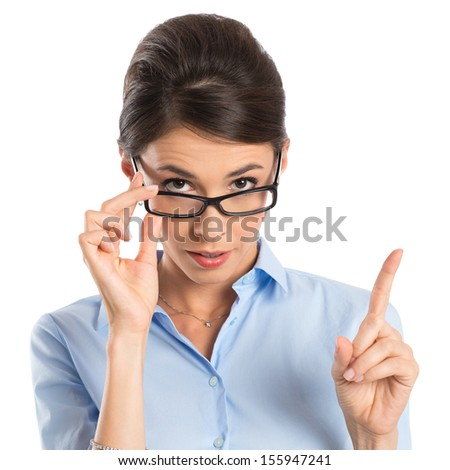 Young Businesswoman Holding Eyeglasses And Gesturing With Finger Isolated On White Background - stock photo