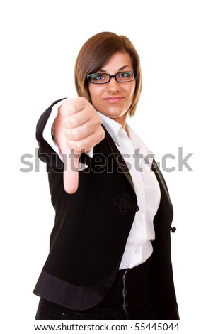 young  businesswoman  holding thumbs down isolated on white