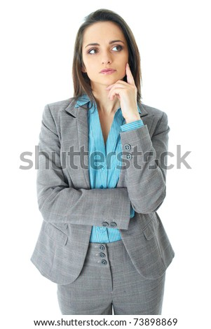 young businesswoman holds her chin, hard decision, studio shoot isolated on white - stock photo