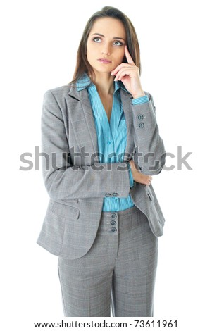 young businesswoman holds her chin, hard decision, studio shoot isolated on white background - stock photo