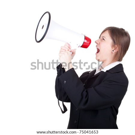 young businesswoman in black jacket with megaphone, screaming - stock photo