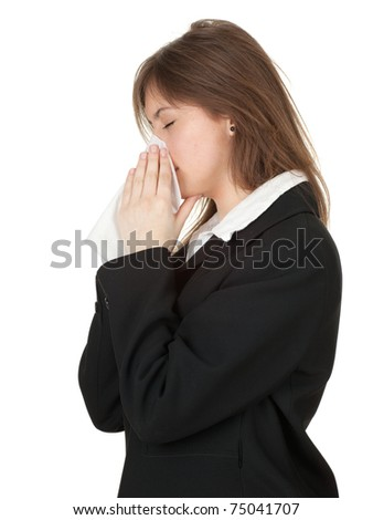 young businesswoman in black suit with snotty, runny nose and handkerchief, series - stock photo
