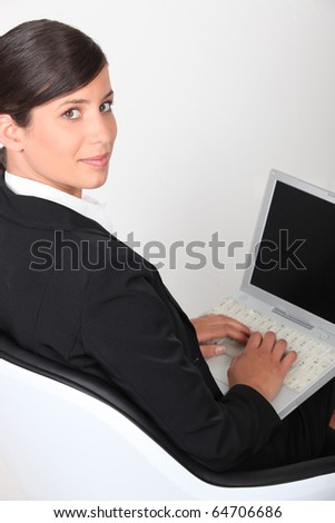 Young Businesswoman in front of laptop computer