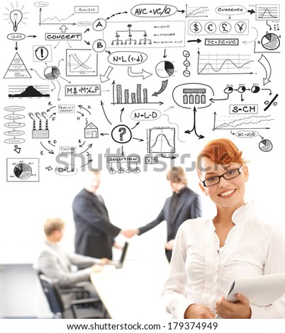 Young businesswoman in front of some businesspeople shaking hands and a conceptual drawing with an economisc theory elements. - stock photo
