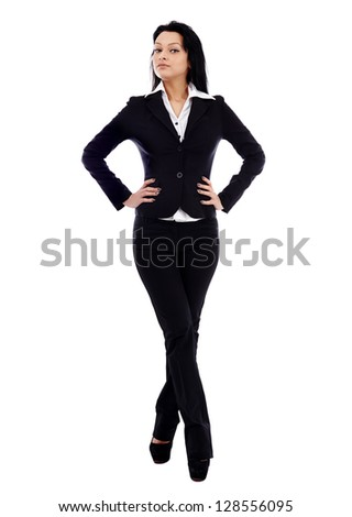 Young businesswoman in full length pose with hands in waist, isolated on white background. Business concept - stock photo