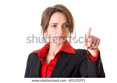 young businesswoman in red shirt and jacket points to something, studio shoot isolated on white - stock photo