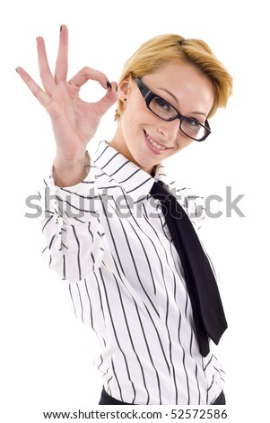 Young businesswoman indicating ok sign. Isolated over white background - stock photo