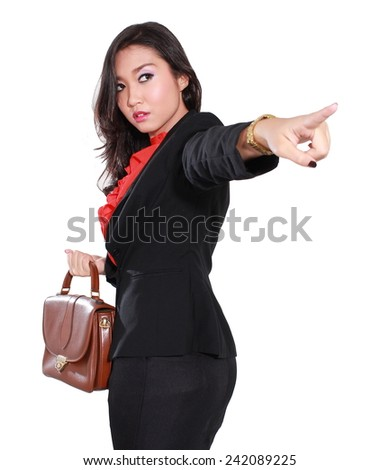 young businesswoman is pointing and angry, isolated on white background - stock photo