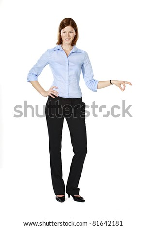 Young businesswoman isolated on a white background smiling, holding something funny in her hand - stock photo