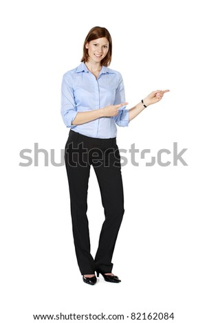 Young businesswoman isolated on a white background smiling, pointing to the left both hands - stock photo
